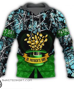 Happy saint patrick's day clover leprechaun full printing shirt