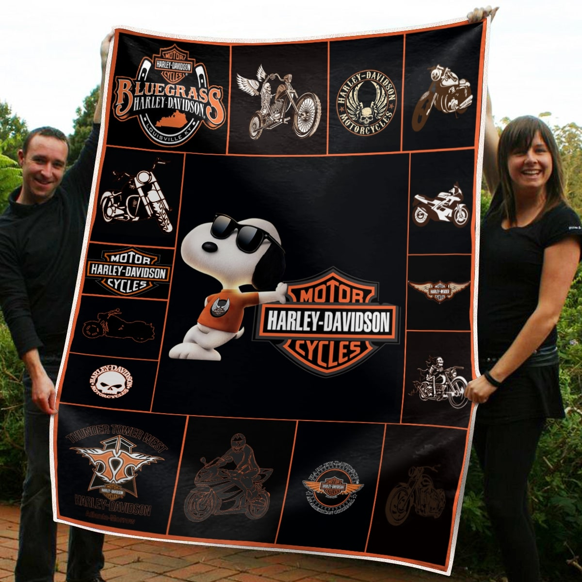 Harley-davidson with snoopy all over print blanket 1