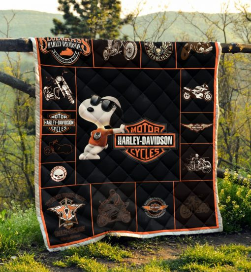 Harley-davidson with snoopy all over print blanket 3