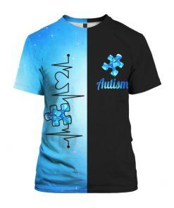 Heartbeat autism awareness full printing tshirt
