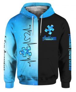 Heartbeat autism awareness full printing zip hoodie
