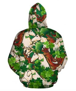 Horse st patrick's day full printing hoodie - back 1