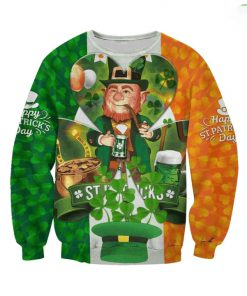 Irish flag leprechaun saint patrick's day full printing sweatshirt