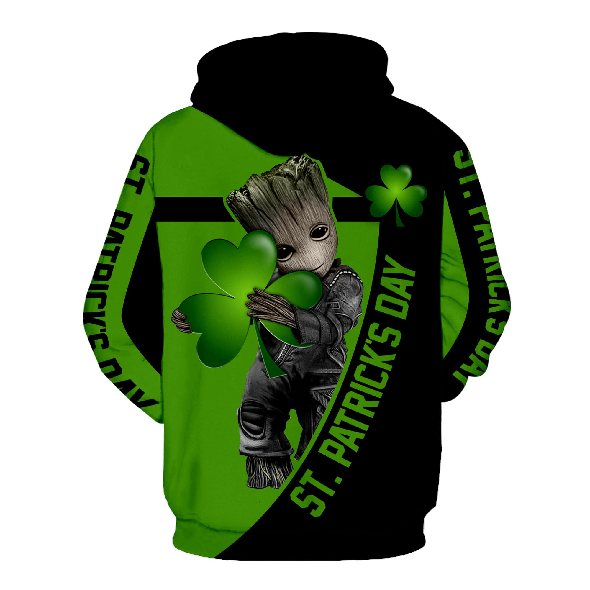 Irish saint patrick's day groot full printing hoodie - back