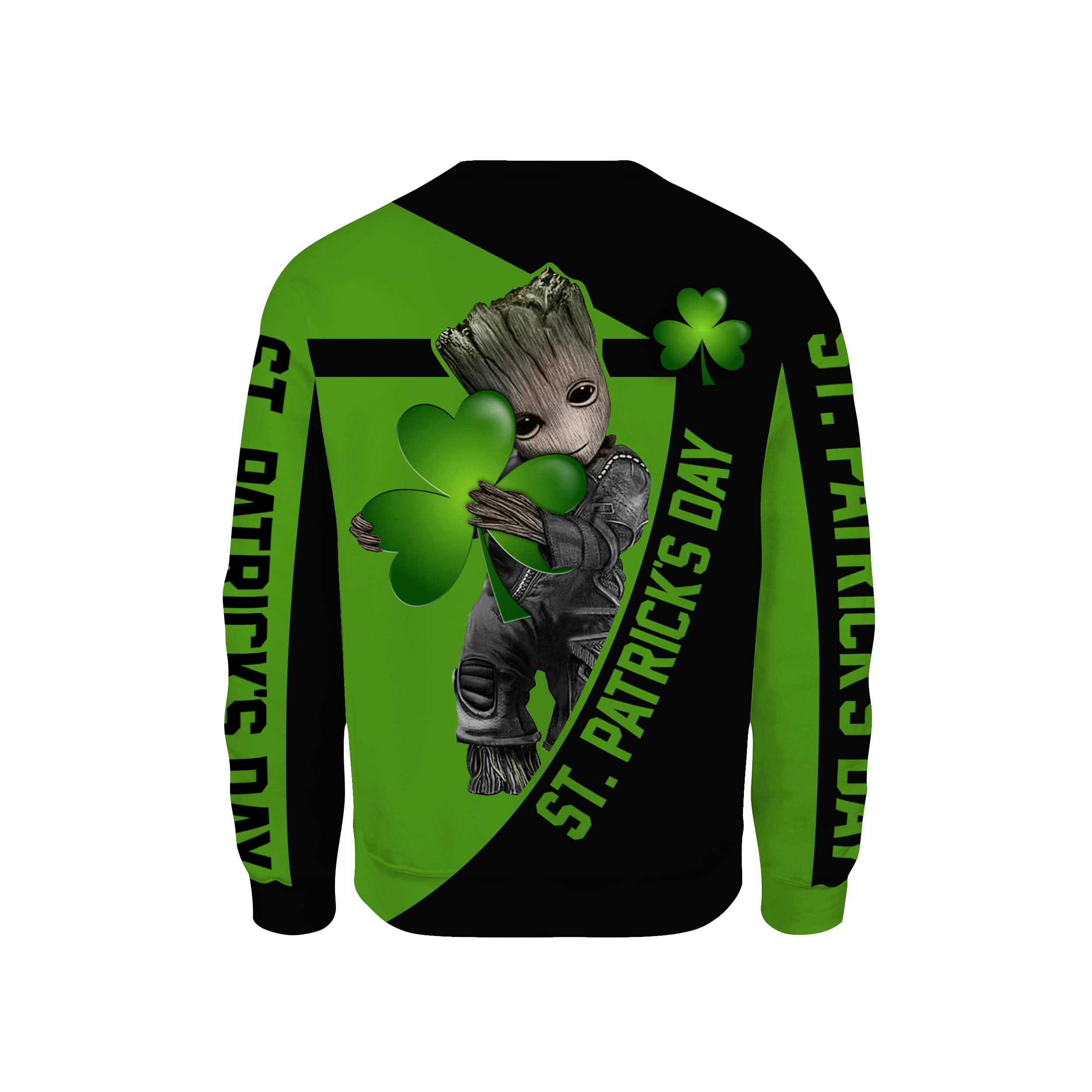 Irish saint patrick's day groot full printing sweatshirt - back