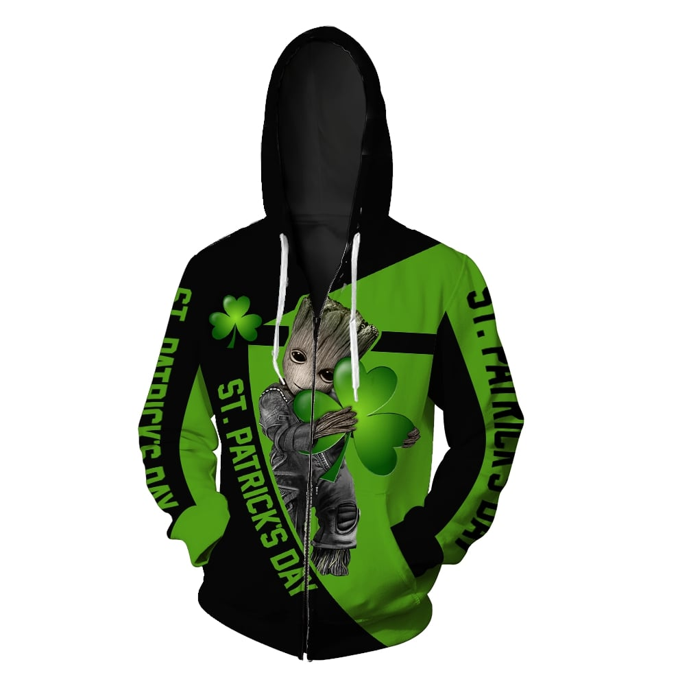 Irish saint patrick's day groot full printing zip hoodie