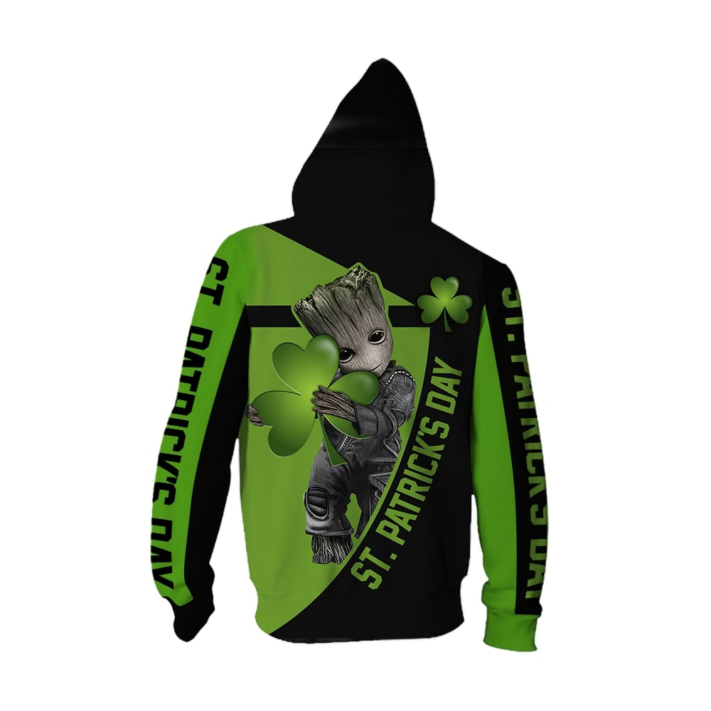 Irish saint patrick's day groot full printing zip hoodie - back