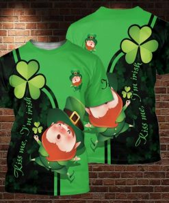 Kiss me i'm irish saint patrick's day full printing tshirt
