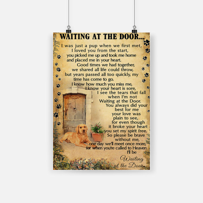 Labrador retriever waiting at the door poster 1