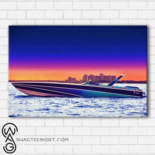 Miami vice scarab powerboat framed poster