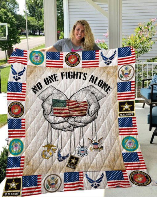 Military no one fights alone veteran quilt 3