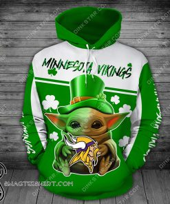 Minnesota vikings baby yoda saint patrick's day full printing shirt