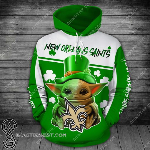 New orleans saints baby yoda saint patrick's day full printing shirt