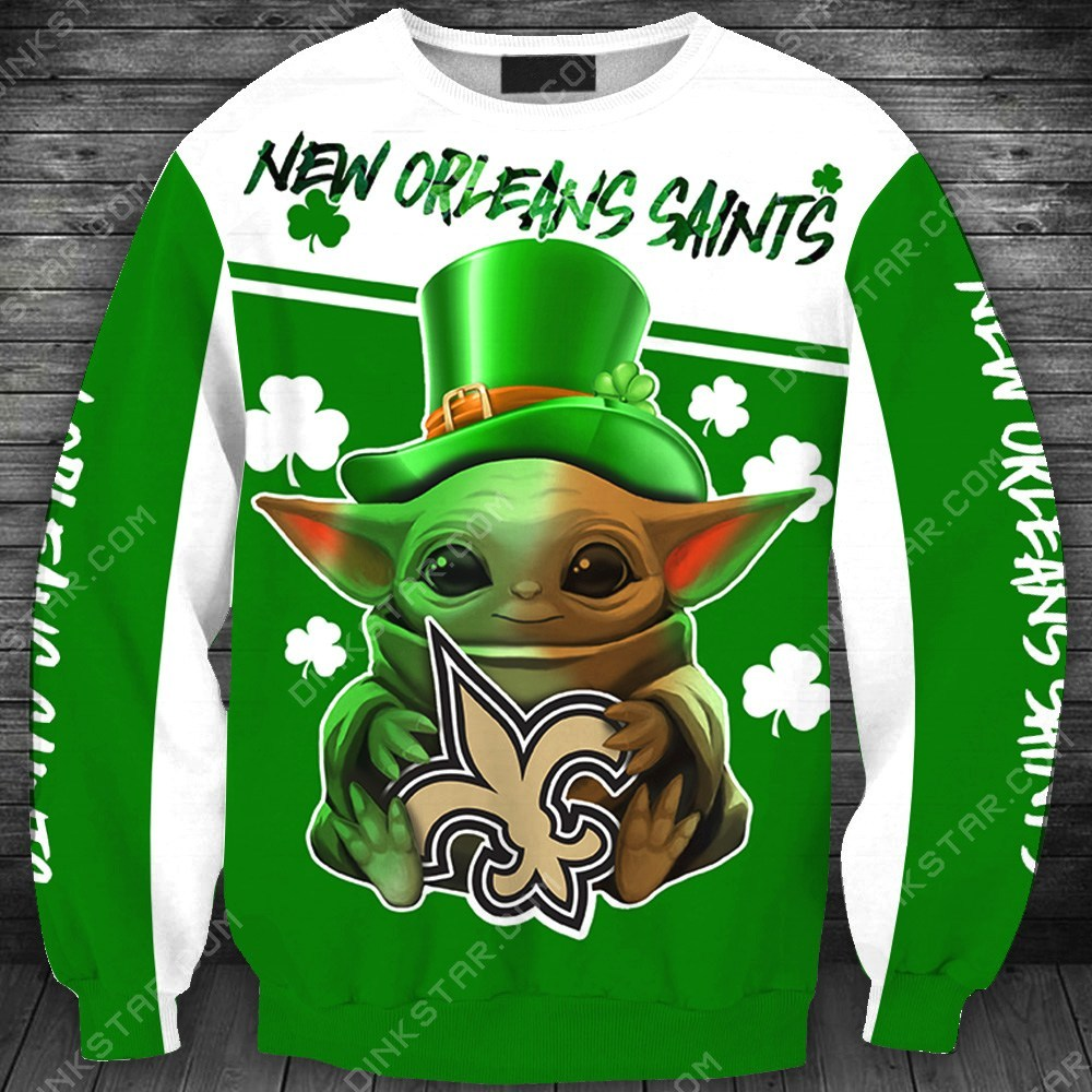 New orleans saints baby yoda saint patrick's day full printing sweatshirt