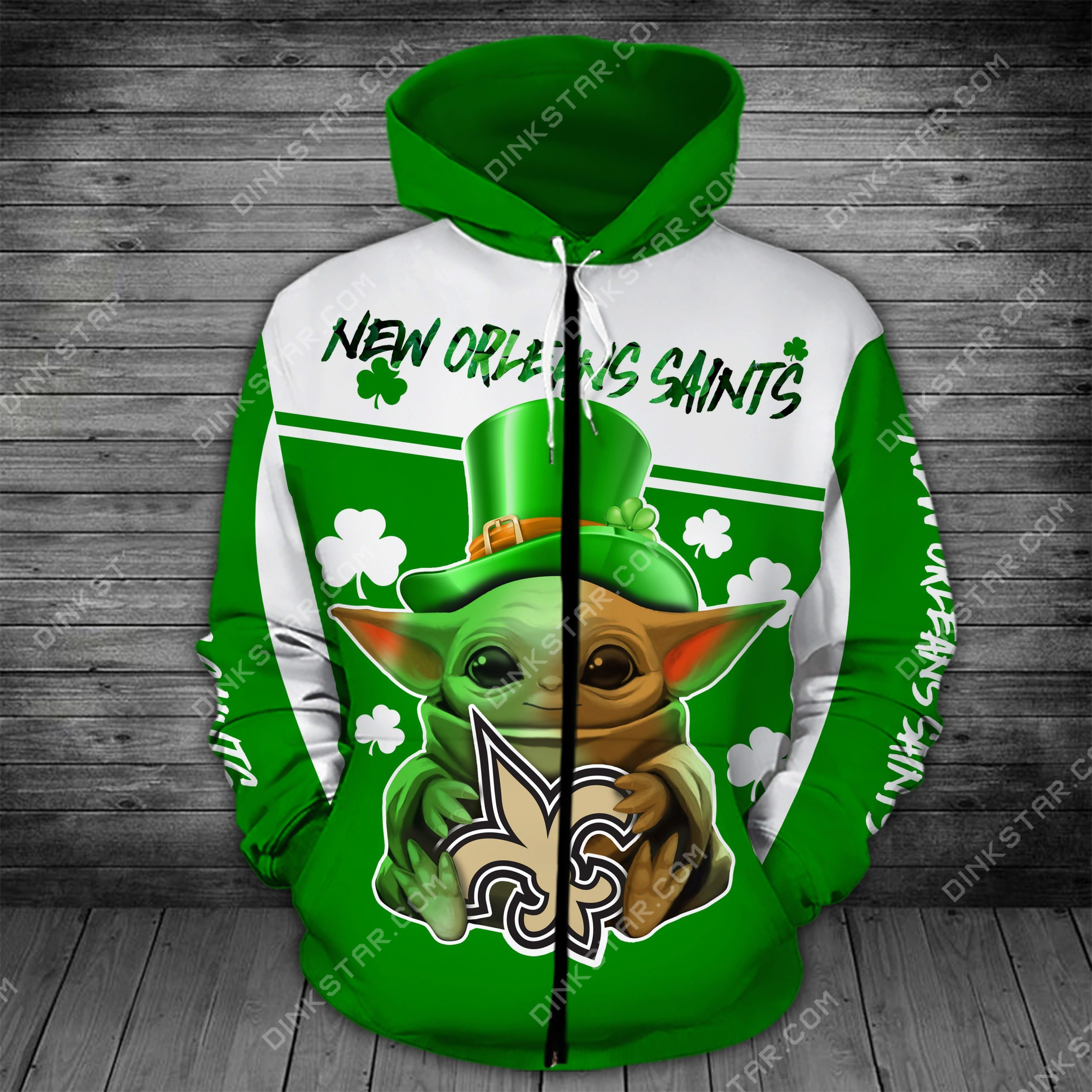 New orleans saints baby yoda saint patrick's day full printing zip hoodie