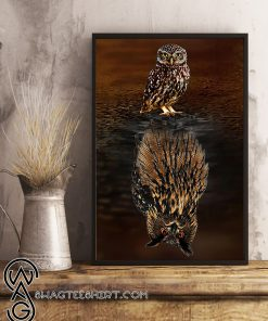 Owl water reflection poster