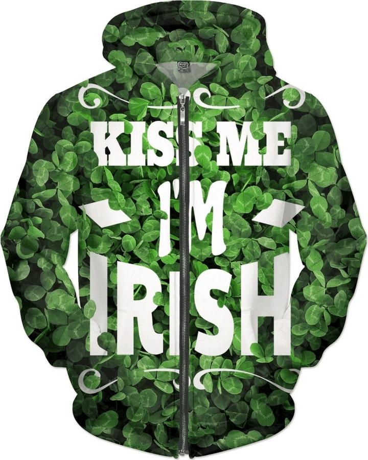 Saint patrick's day irish pride kiss me i'm irish full printing hoodie 3