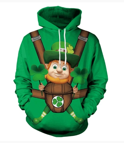 Saint patricks day leprechaun hold shamrock clover full printing hoodie 1