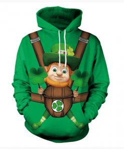 Saint patricks day leprechaun hold shamrock clover full printing shirt