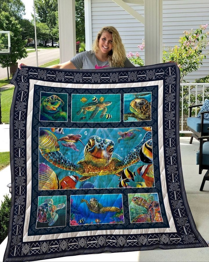 Save the sea turtle cotton quilt 1