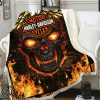 Skull harley davidson all over print blanket