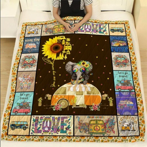 Sunflower hippie you are my sunshine camping quilt 1