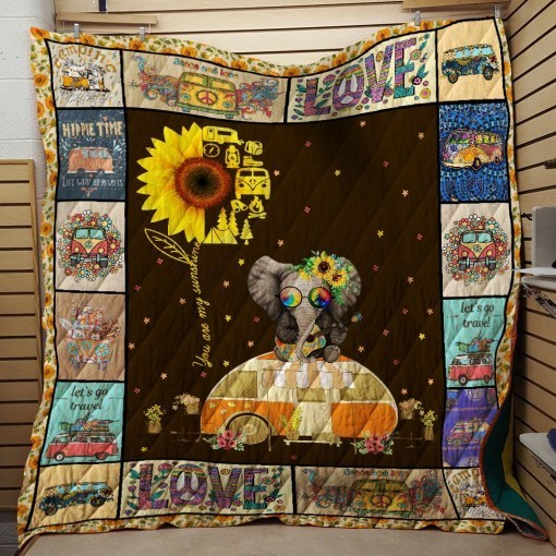 Sunflower hippie you are my sunshine camping quilt 2
