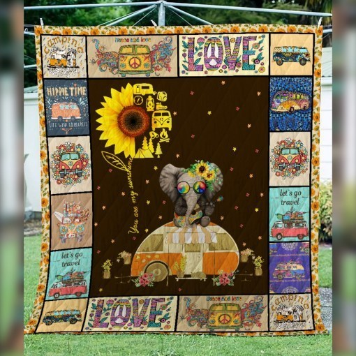 Sunflower hippie you are my sunshine camping quilt 3
