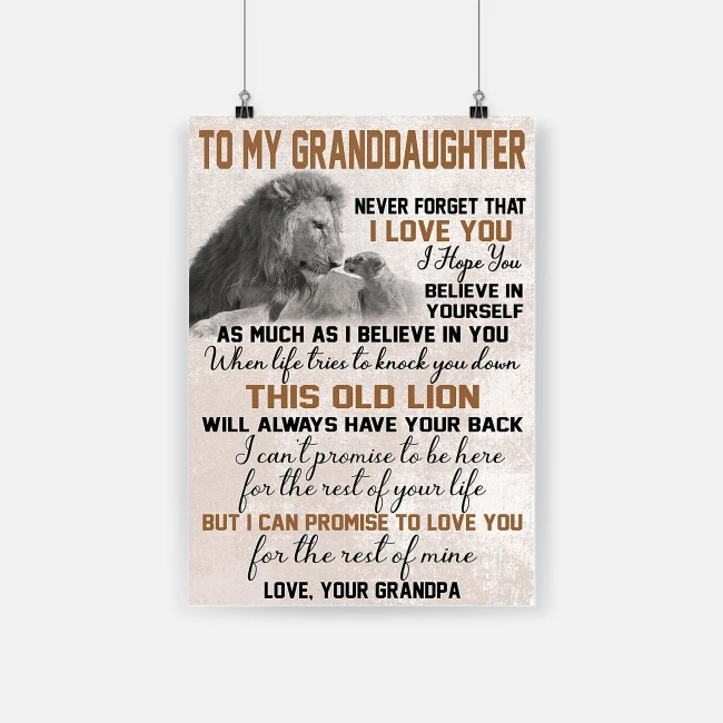 To my granddaughter never forget that i love you lion poster 1