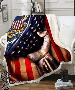 United states navy american flag blanket