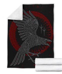 Viking raven all over printed blanket 3