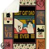 Vintage best cat dad ever father's day blanket