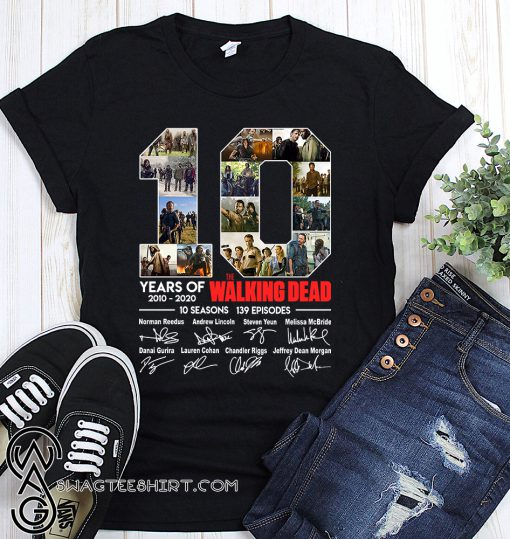 10 years of the walking dead signatures shirt