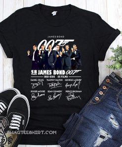 58 years of 007 james bond 1962-2020 signatures shirt