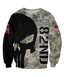 82nd airborne division skull full printing sweatshirt