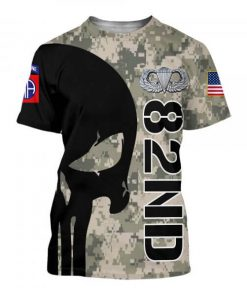 82nd airborne division skull full printing tshirt
