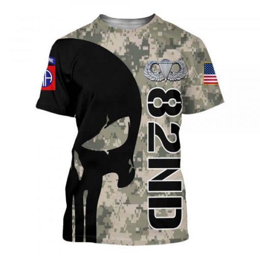 82nd airborne division skull full printing tshirt