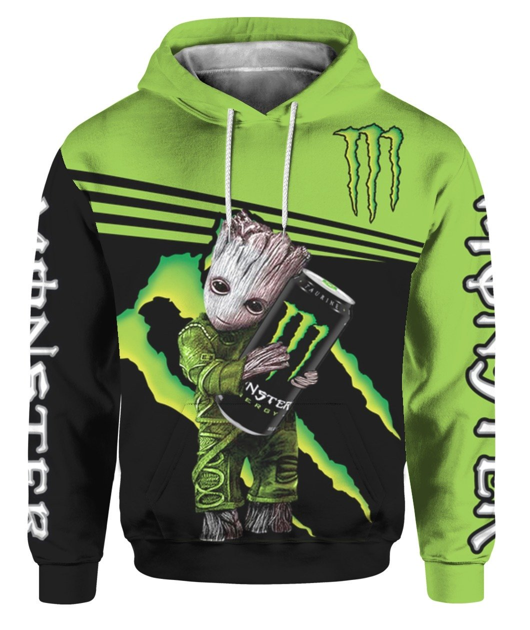 Baby groot and monster energy all over print hoodie 1