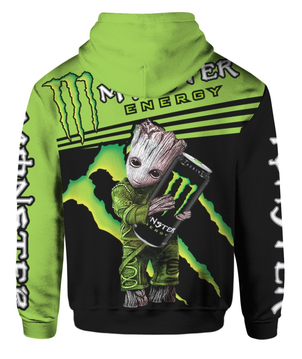 Baby groot and monster energy all over print hoodie 2