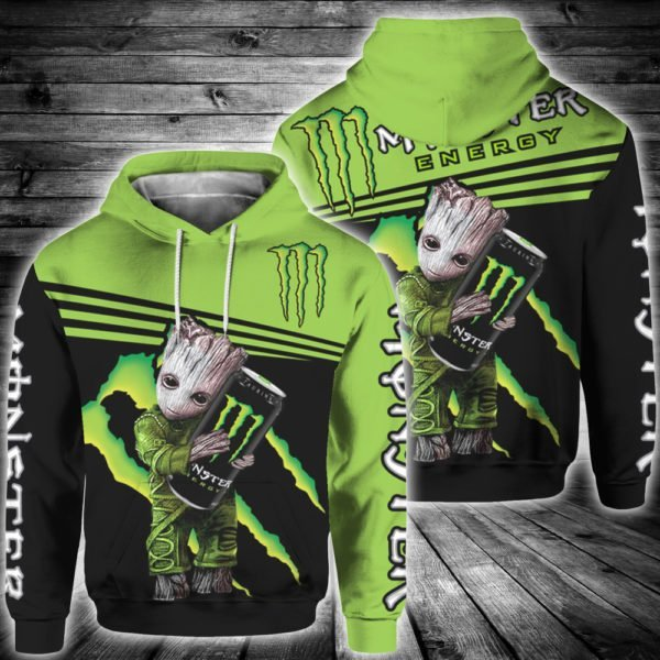Baby groot and monster energy all over print hoodie