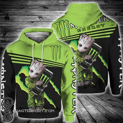 Baby groot and monster energy all over print shirt
