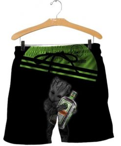 Baby groot hold jagermeister full printing shorts