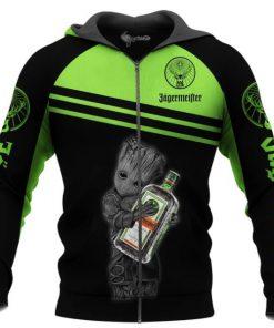 Baby groot hold jagermeister full printing zip hoodie