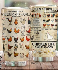 Chicken knowledge full over print tumbler