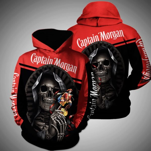 Death skull captain morgan full printing hoodie