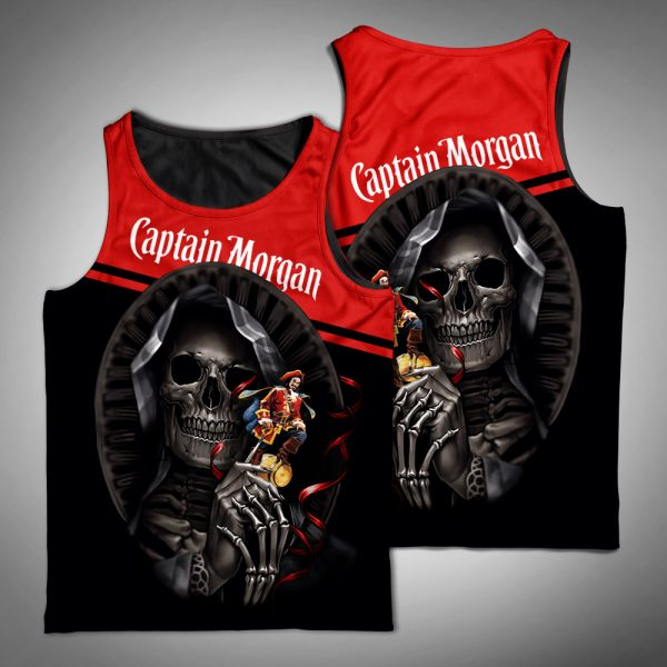 Death skull captain morgan full printing tank top
