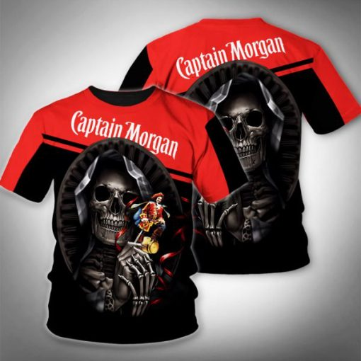 Death skull captain morgan full printing tshirt