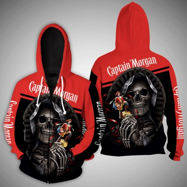 Death skull captain morgan full printing zip hoodie