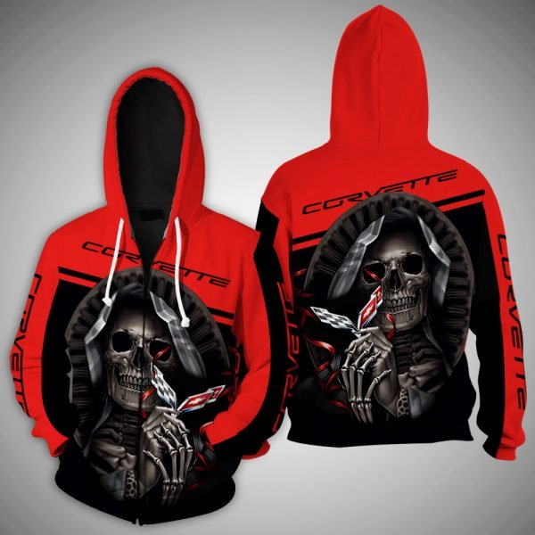 Death skull corvette full printing zip hoodie