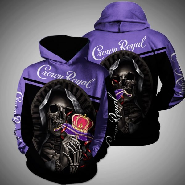 Death skull crown royal full printing hoodie